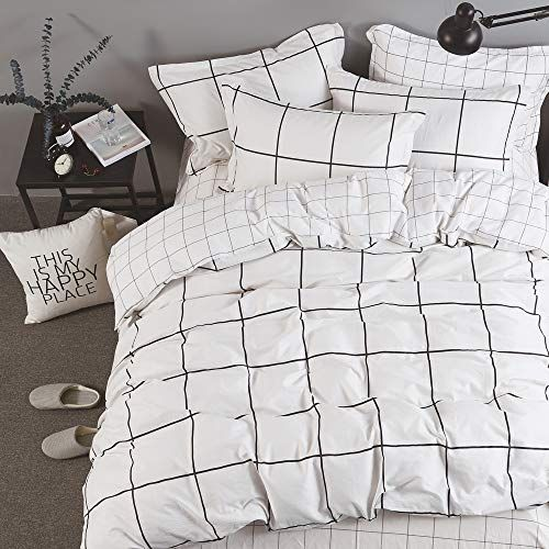 Karever Boys Black And White Big Grid Plaid Bedding Sets Wonky Checkered Duvet Cover Set Queen Gir Patterned Bedding Sets Plaid Bedding Sets Duvet Bedding Sets