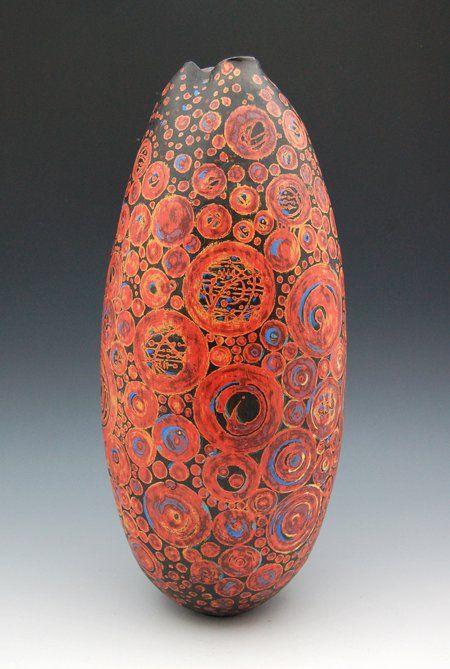 "Melanie Ferguson  17"" tall, handbuilt stoneware, fired ∆04. Layered underglazes on leatherhard with glazes, handrubbed beeswax finish. ©2010 MFerguson"