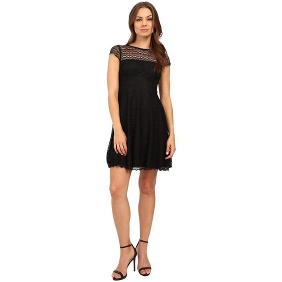 Jessica Simpson Lace Cap Sleeve Fit Flare Dress JS6T8820 (Black)... ($98) ❤ liked on Polyvore featuring dresses, scoop neck fit and flare dress, lace fit and flare dress, fit flare dress, cap sleeve dress and lace overlay dress