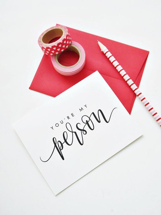 You're My Person Card By Atiliay / Valentine's Day Card, Galentine's Day Card, Modern Calligraphy Card