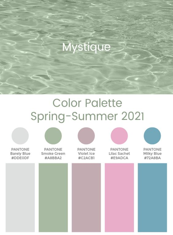 Trend Color Palette Spring-Summer 2021 Mystique  #color #trends