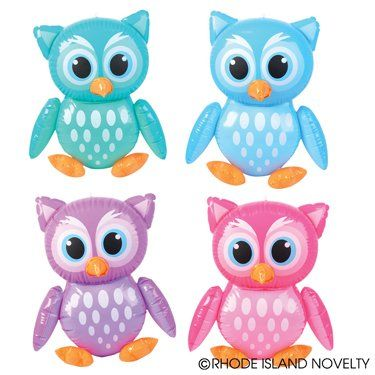 OWL INFLATES- Four INFLATABLE OWLS IN ASST COLORS-HOOT HOOT FUN-Great for POOL BEACH BIRTHDAY Party Decor Favor BIRDS ANIMAL ADORABLE COLORFUL TOY RN http://www.amazon.com/dp/B00HVP60HO/ref=cm_sw_r_pi_dp_m7CSub15TB9AQ
