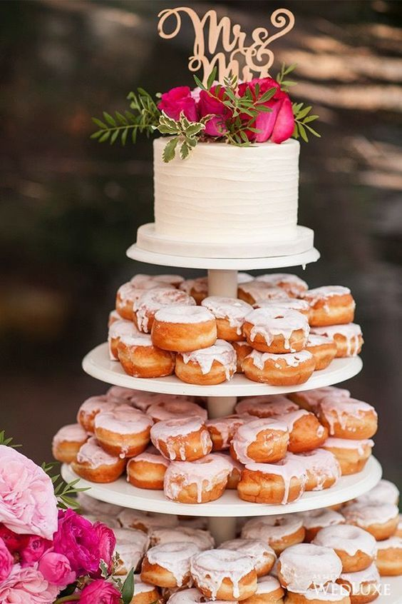 Spring Wedding Cake Donut Wall Pink Floral Toppers Elegant And
