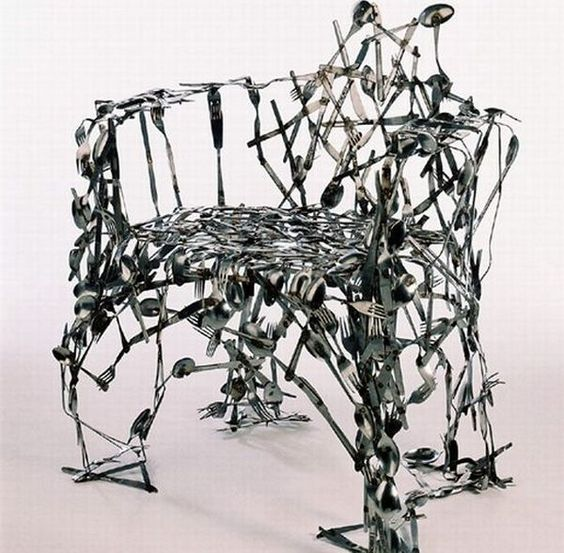 Recycled cuttlery chair by Osian Batyka-Williams