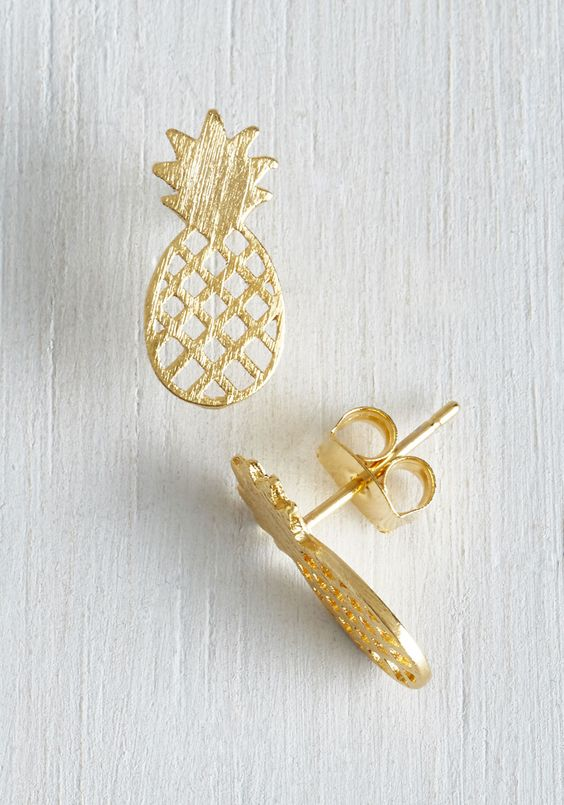 Tropical Flair Earrings. Add a subtle splash of summertime chic to your ensemble with these golden pineapple earrings. #gold #modcloth