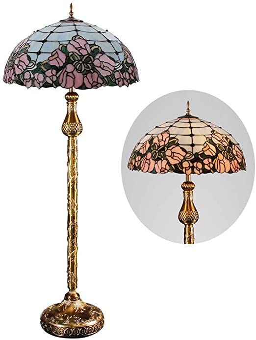 Gaoliqin Tiffany Style Floor Lamp Vintage Stained Glass Standing Lamp 5 Light Led Reading Tiffany Style Floor Lamps Glass Standing Lamp Living Room Lighting