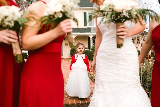 A flower girl at Faiview Farm's first holiday wedding. www.fairviewfarmevents.com www.shannonhennesseyphotography.com
