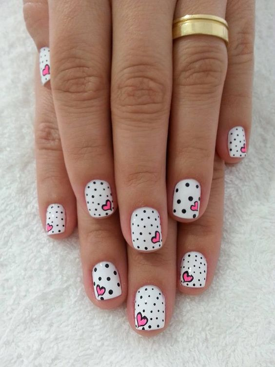 Valentine nails - hearts   black and white polka dots