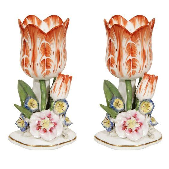 Staffordshire Porcelain  —  A Pair Tulip Vases,  c.1840  (736x736):