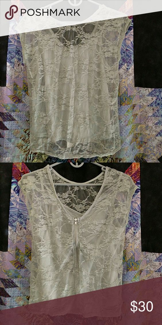 NWT W118 by Walter Baker Gray Lace Buffy Top Sleeveless lace overlay with matching tank and zip back. W118 by Walter Baker Tops