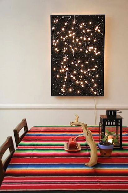 HOW TO! : DIY Light Up Constellation Wall Art! I CAN do this. Exciting. Outer space is kinda my thang... Instead of old school Christmas lights though, I highly recommend LED string lights, for they don't heat up; way safer.