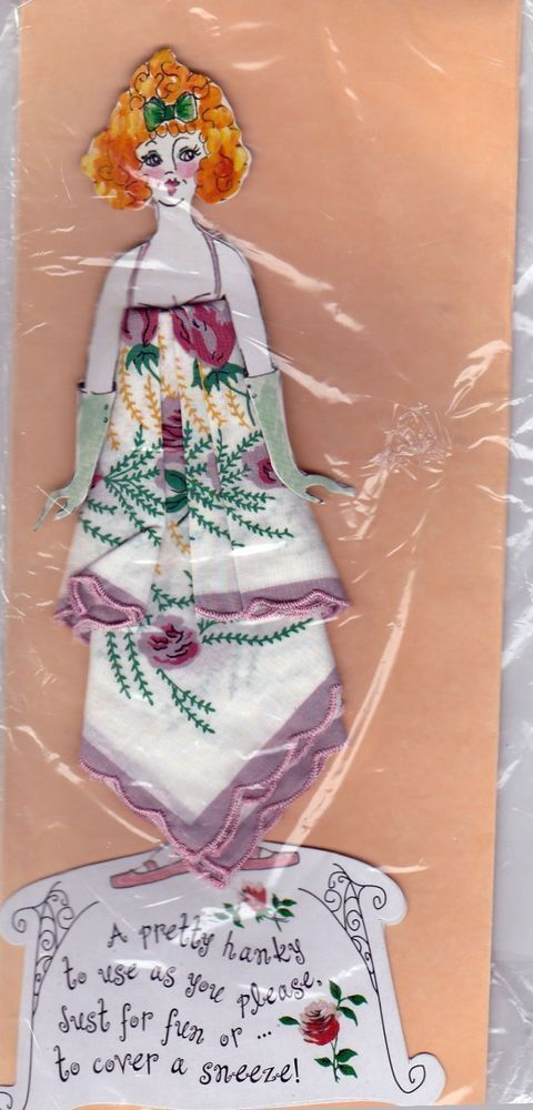 Hanky Handkerchief Doll White Lavender Vintage Handkerchief with Flowers #Unbranded #Floral