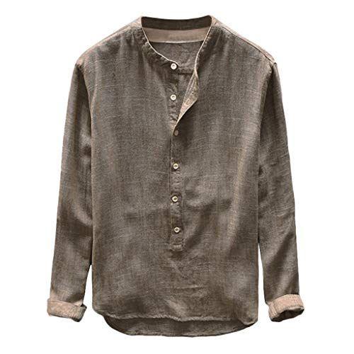 VECDY /Ét/é Nouveau Style Casual Sauvage Hommes Baggy Coton Lin Couleur Unie /À Manches Courtes R/étro T Chemises Tops Chemisier