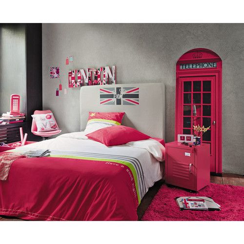 D co murale pink uk linge de lit tonic t te de lit dream et table de chevet - Deco chambre london fille ...