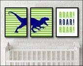 Dinosaur Print Boys room Roar nursery set of 3 prints Nursery Wall Art Baby Boy Room Dinosaur art prints