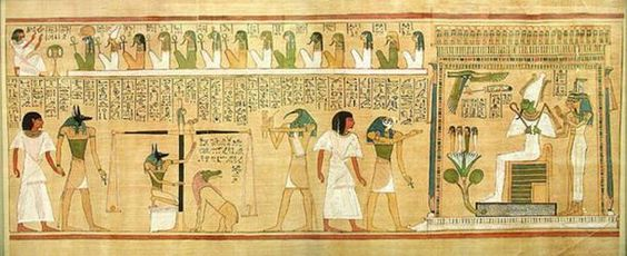 Weighing of the heart scene, with Ammit sitting, from the book of the dead of…