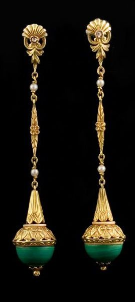 Gold earrings with small rose cut diamonds, pears and malachite, circa 1900:
