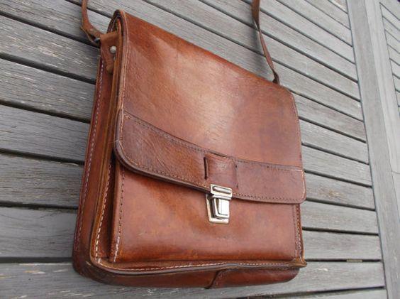 sac en cuir vintage à bandoulière, mixte - leather shoulder bag