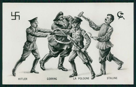 Hitler Russia Stalin x Poland WWII WW2 War Anti Nazi Original 1940s Postcard | eBay