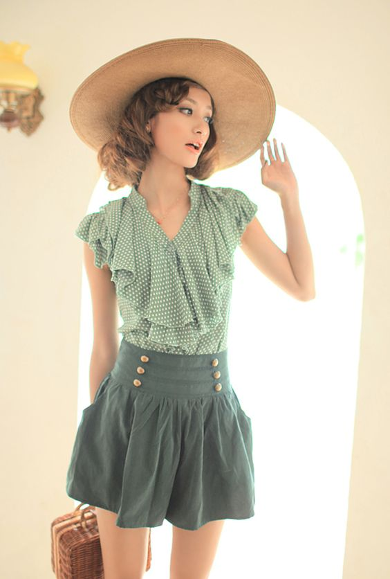 Adelia's Fable Polka Dot Print Blouse in Hunter Green | Sincerely Sweet Boutique