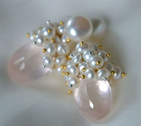 Rosenquarz Fee Süßwasserperlen Knopfperlen Ohrringe Mix Silber Gold