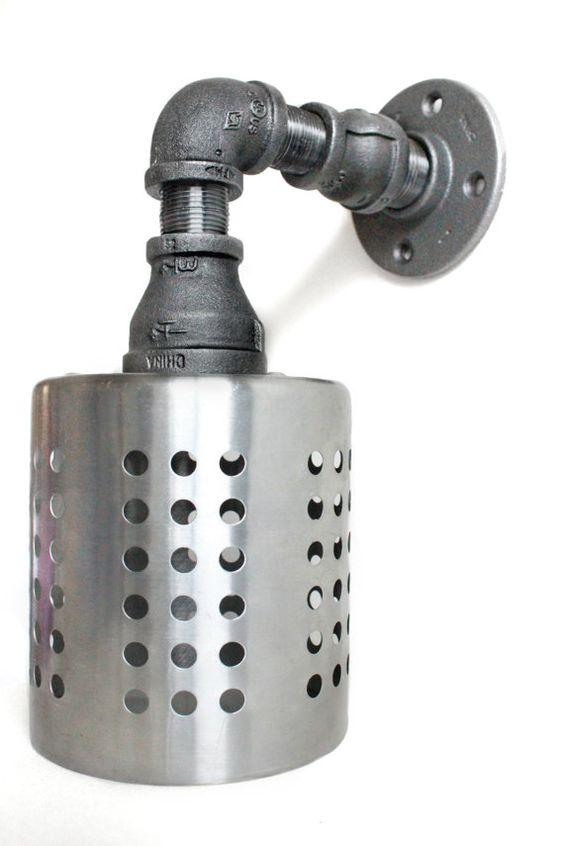 Industrial farmhouse wall sconce pipe light w stainless for Pipe bathroom light fixture