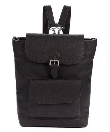 Loving this Black Buckle Front-Pocket Backpack on #zulily! #zulilyfinds