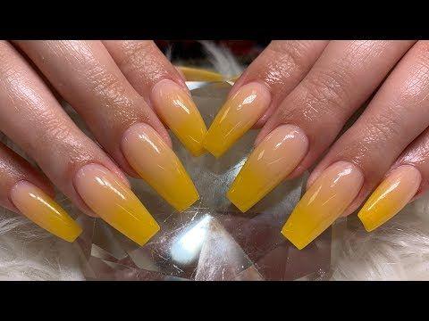 Mustard Yellow Ombre Acrylic Nails Youtube Acrylic Nails Yellow Ombre Acrylic Nails Yellow Nail Art