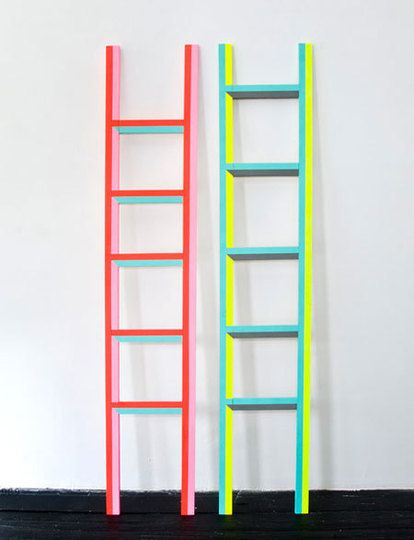 DayGlo ladders by Ben Jones.  would love to have these leaning up a bookcase in a monochromatic room