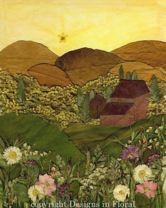 Tuscan farmhouse at sunset.  Yes, it really was made from pressed leaves and flowers.