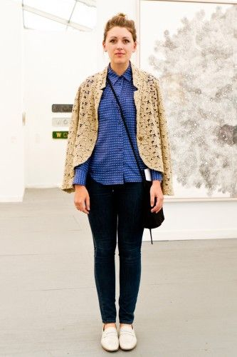 Street style at Frieze Art Fair...love her lace jacket worn as a cape. Photo by Guang Xu.