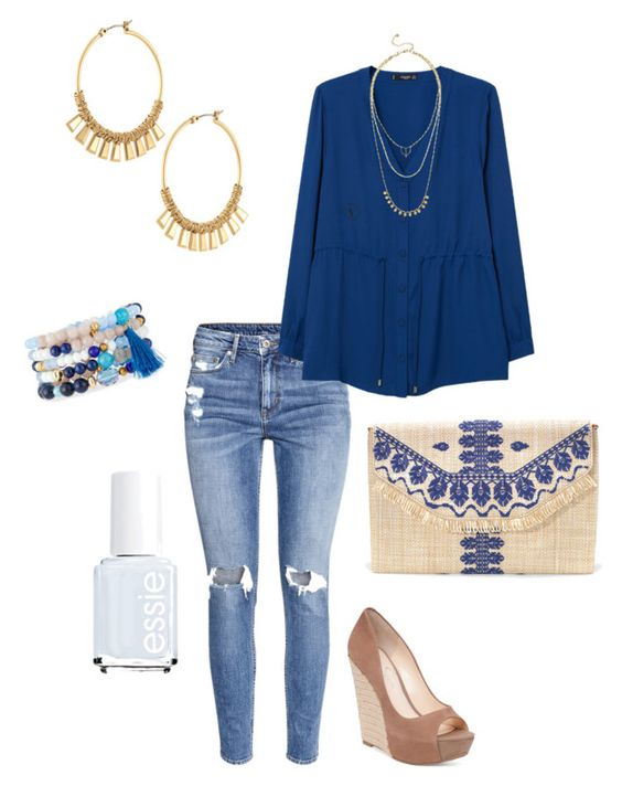 """""""Untitled #359"""" by kmysoccer on Polyvore featuring H&M, MANGO, Stella & Dot, NAKAMOL, Essie and Jessica Simpson"""