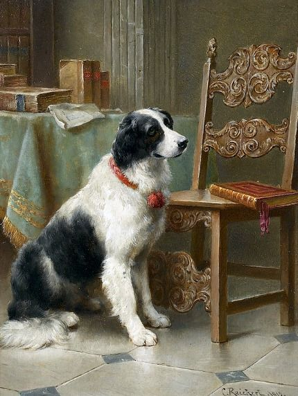 Interior with Dog and Books by Carl Reichert: