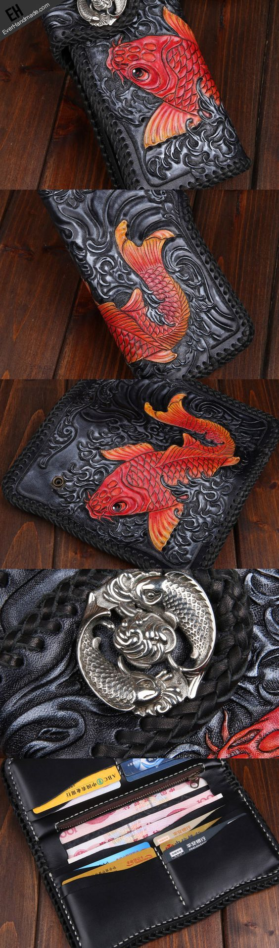Handmade leather Black biker trucker wallet leather chain men red carp Carved Tooled wallet