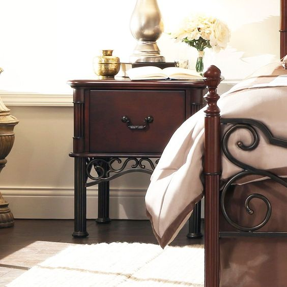 this leann nightstand is a modern style furniture that will fit in any home decor beautiful combination wood metal furniture