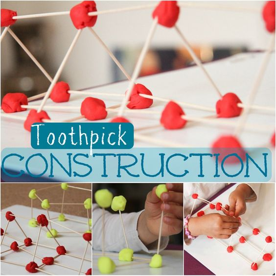 I combined playdough with toothpicks for  construction fun. Working on finger dexterity and spatial awareness ...