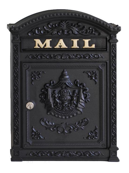 E6bk Victorian Style Mailbox Satin Black Locking In 2021 Wall Mount Mailbox Mounted Mailbox Victorian Mailboxes Decorative wall mount mail box