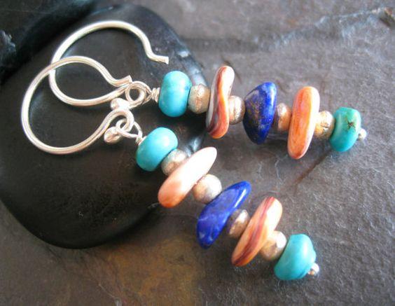 NEW+Southwest+Earrings+Turquoise+Lapis+Spiny+by+sunrisetreasures