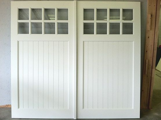 White Painted Swing Out Garage Doors Plans Home Interiors Garage Doors Garage Door Styles Wood Garage Doors