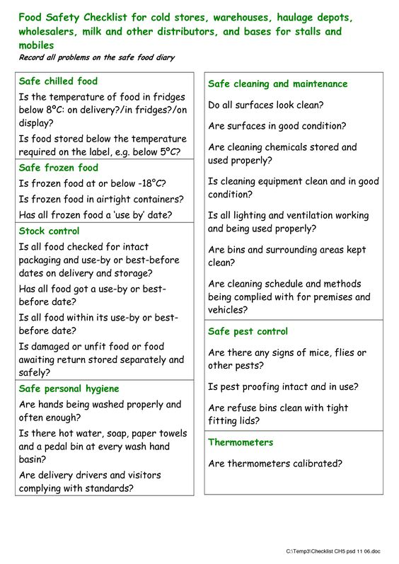 Food Checklist Template Food Safety Checklist For Cold - food protection course answers