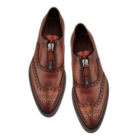 Handmade Men S Brown Color Leather Shoes Wing Tip Brogue Dress Formal Zipper Shoes From The Leather Souq Custom Design Shoes Quality Leather Boots Up Shoes