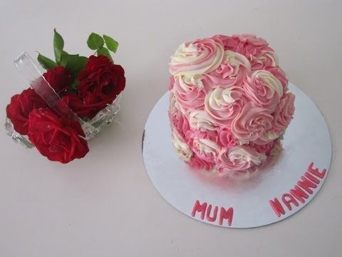 Two Toned Buttercream Rose Swirl Cake - Made with a Wilton 1M Piping Tip (Slideshow)