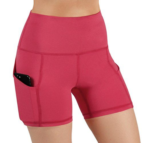 High Waist Out Pocket Yoga Short Tummy Control Workout Running Athletic Non See-Through Active Shorts