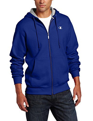 Champion Men's Full Zip Eco Fleece Jacket Hoodie, Ultra Marine, X ...