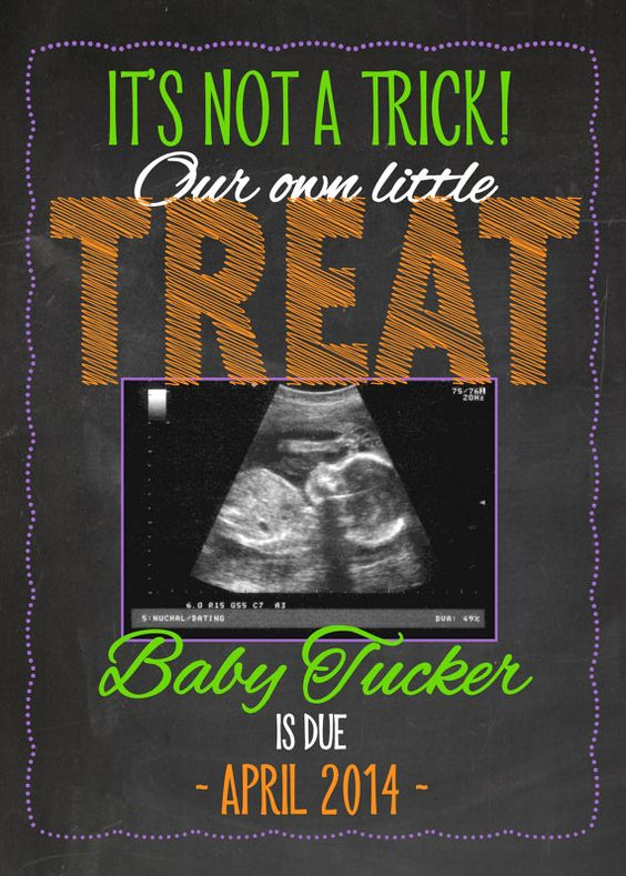 Printable Pregnancy Announcement Card   Halloween Themed   It's Not a Trick It's…