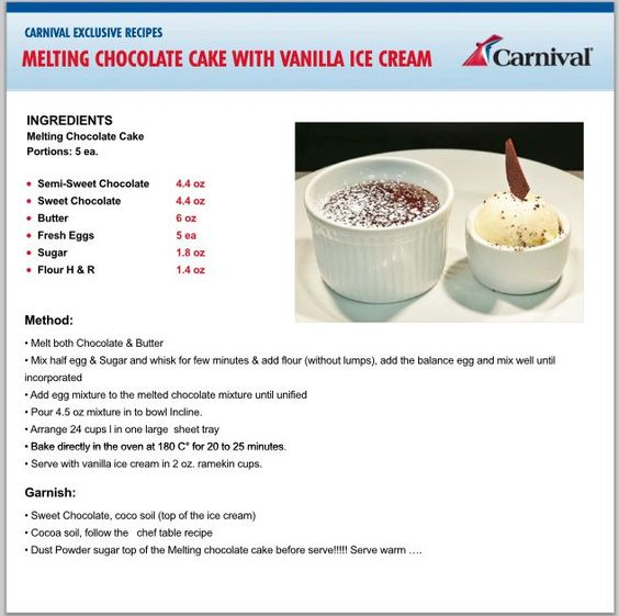 Molten Chocolate Cake recipe from Carnival Cruise Line.