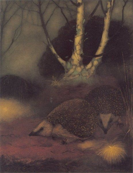 Hedgehogs in the forest by Jan Mankes -- Oil / canvas: