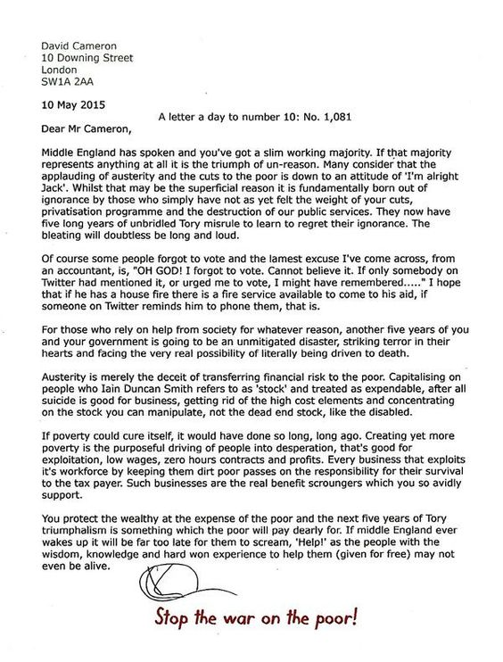 A letter a day to number 10 No 984 Saturday 24 January 2015 - job abandonment letter