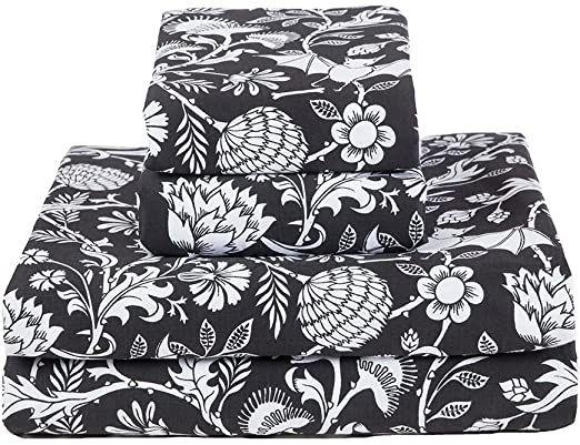 Bat Botanical Print Sheets Black And White Cotton Sateen Bed Linens Set Cal King Bed Linen Sets Printed Sheets Linen Bedding Black and white pattern sheets