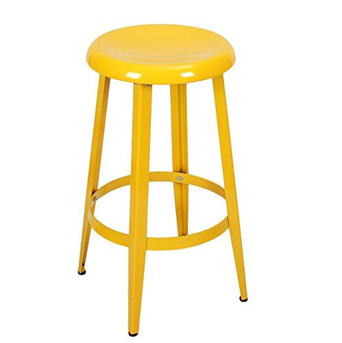 Joveco Yellow Stackable Metal Round Top Backless 26 Inch Stool Wholesale Price Available Click For Special Deals Metal Counter Stools Backless Stools Stool